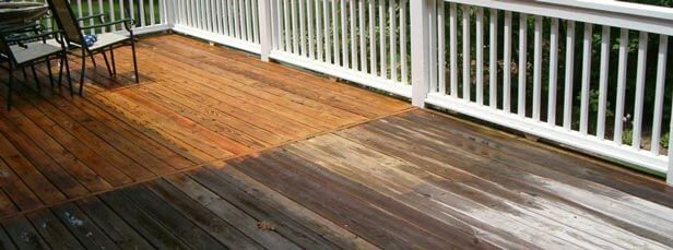 pressure wash a deck is with care