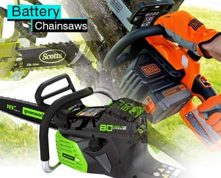 Battery-powered chainsaws