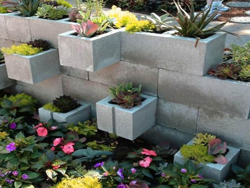 concrete cylinder blocks for garden