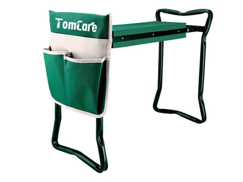 TomCare Garden Kneeler Seat Garden Bench Garden Stools Foldable Stool with Tool Bag Pouch EVA Foam Pad Outdoor Portable Kneeler for Gardening