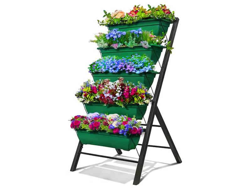 4-Ft Raised Garden Bed - Vertical Garden Freestanding Elevated Planters 5 Container Boxes - Good for Patio Balcony Indoor Outdoor - Cascading Water Drainage to Grow Vegetables Herbs Flowers