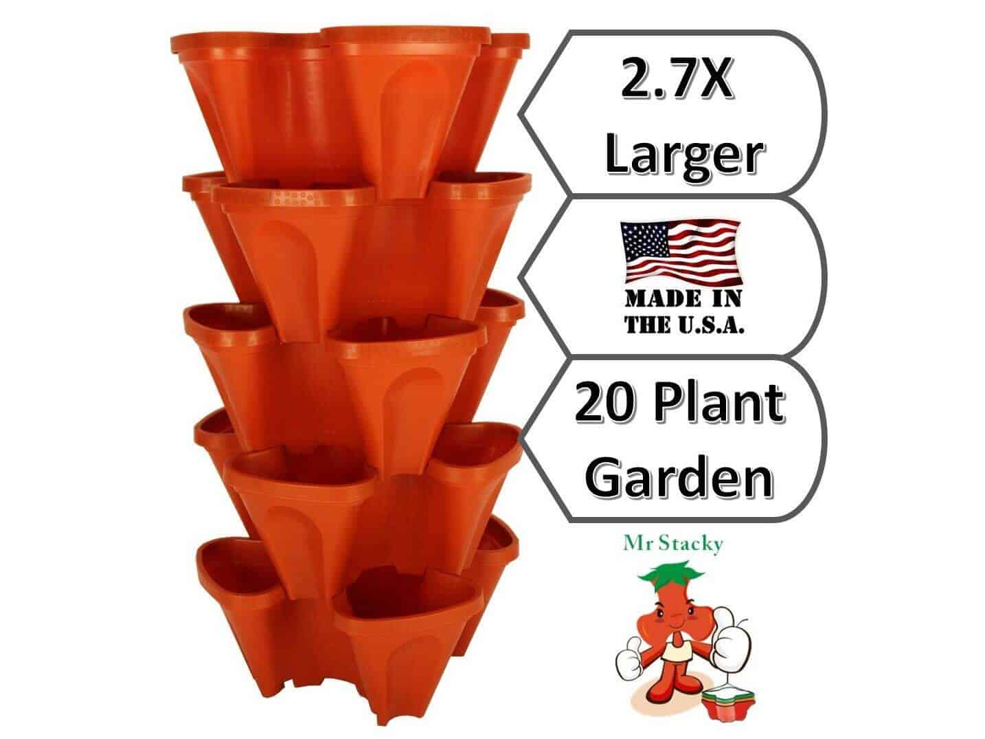 LARGE Vertical Gardening Stackable Planters by Mr. Stacky - Grow More Using Limited Space And Minimum Effort - Plant. Stack. Enjoy