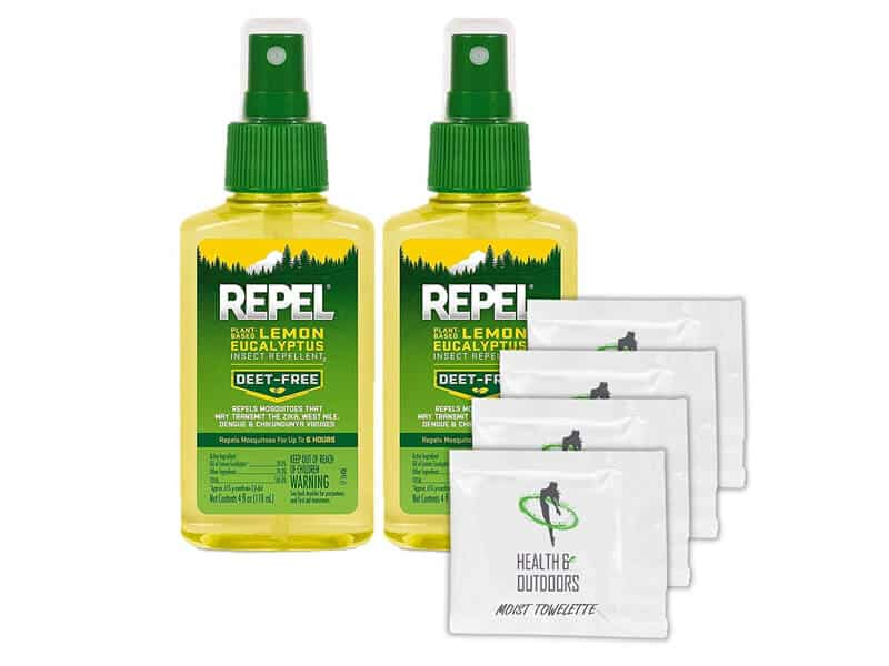 Repel Plant-Based Lemon Eucalyptus Insect Repellent, Pump Spray, 4-Ounce(2 Count) W 4 HAO Moist Towelettes