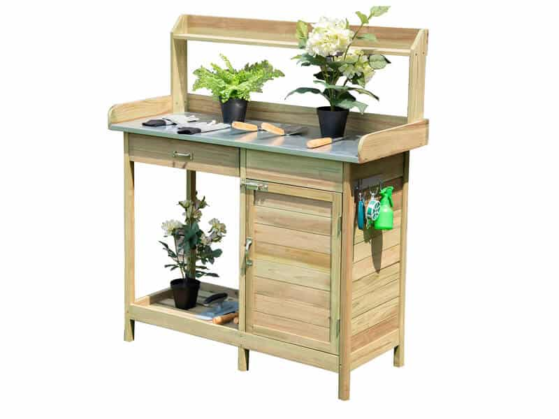 Giantex Potting Bench Table for Outside Natural Wood Garden Plant Lawn Patio Table Storage Shelf Moisture Free Metal Tabletop Outdoor Workstation Flower Pot Bench (Natural Fir w Cabinet)