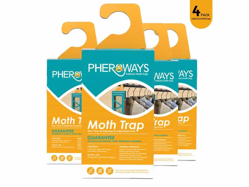 Pheroways Clothes Moth Traps Safe Moth Traps for Closet Clothing & Carpet Moth Traps Effective Guaranteed (4 Pack)