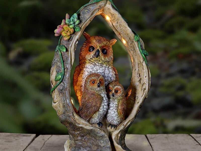 Exhart Solar Owl Family in Tree Stump Garden Statue - Night Owls Garden Decor w Solar-Powered Lights – Night Owls in Ring-Shaped Tree Stump w Flowers