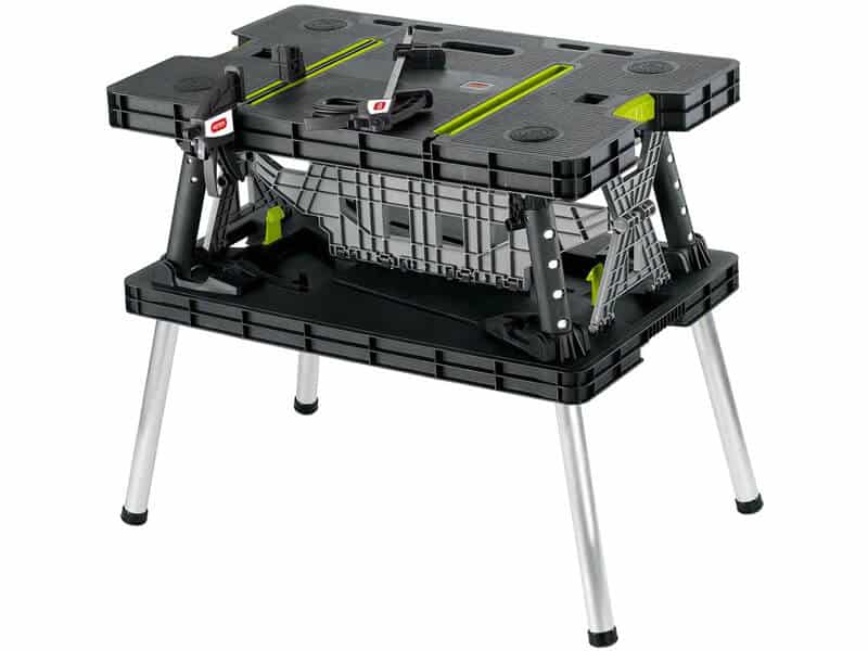 Keter Folding Compact Workbench Work Table with Clamps, 21.7 x 33.5 x 29.75-Inches