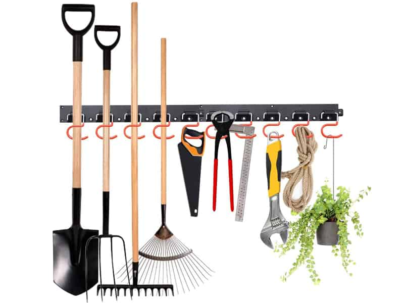 MOHOO Adjustable Storage System 64 Inch, Wall Holders for Tools, Wall Mount Tool Organizer, Garage Organizer, Garden Tool Organizer, Heavy Duty Tools Hanger with 4 Rails 16 Hooks