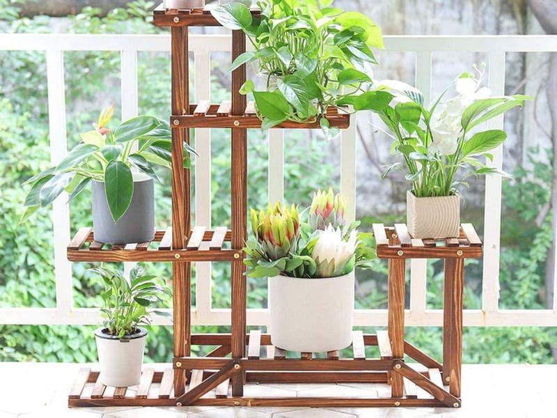 Plant Stand Wooden Shelf Tiered Flower Rack Holder Planter Pots Shelves Display Multiple Plants Succulents Indoor Outdoor for Garden Patio Balcony Lawn 37.4x9.8x37.8in