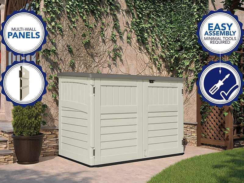 Best Garden Storage Shed Suncast Stow – Away Horizontal Storage Shed – Outdoor Storage Shed for Backyards and Patios