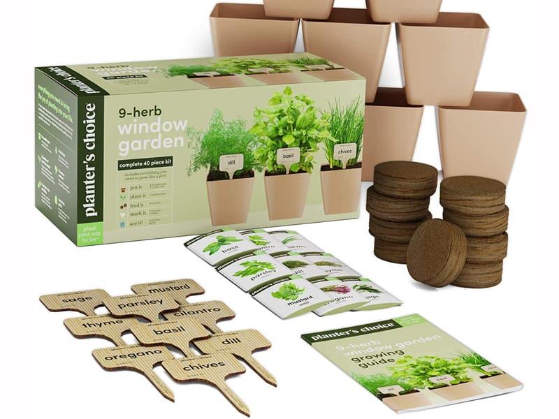 Best Window Sill Herb Garden Kits - 9 Herb Window Garden - Indoor Organic Herb Growing Kit