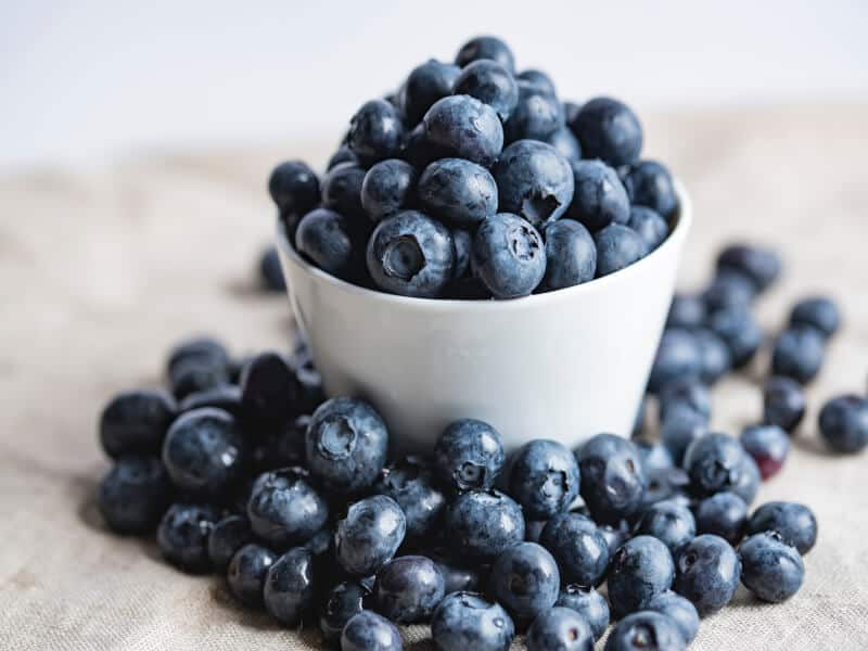 Blueberries on a white bowl