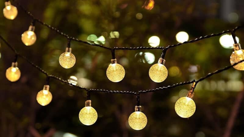 Battery Operated String Lights, LOENDE Waterproof 21FT 30 LED 8 Modes Fairy Garden Globe String Lights with Crystal Ball for Christmas Tree, Holiday, Outdoor, Indoor, Party Decor