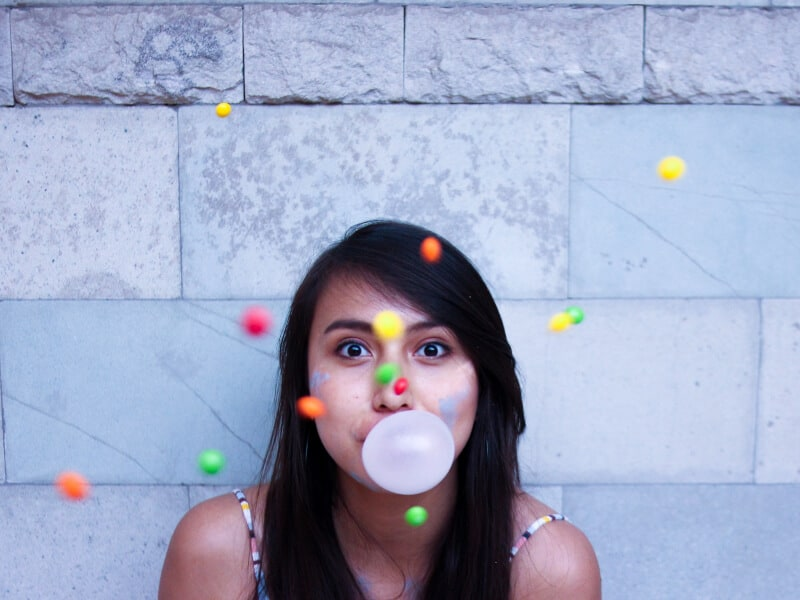 girl chewing a gum