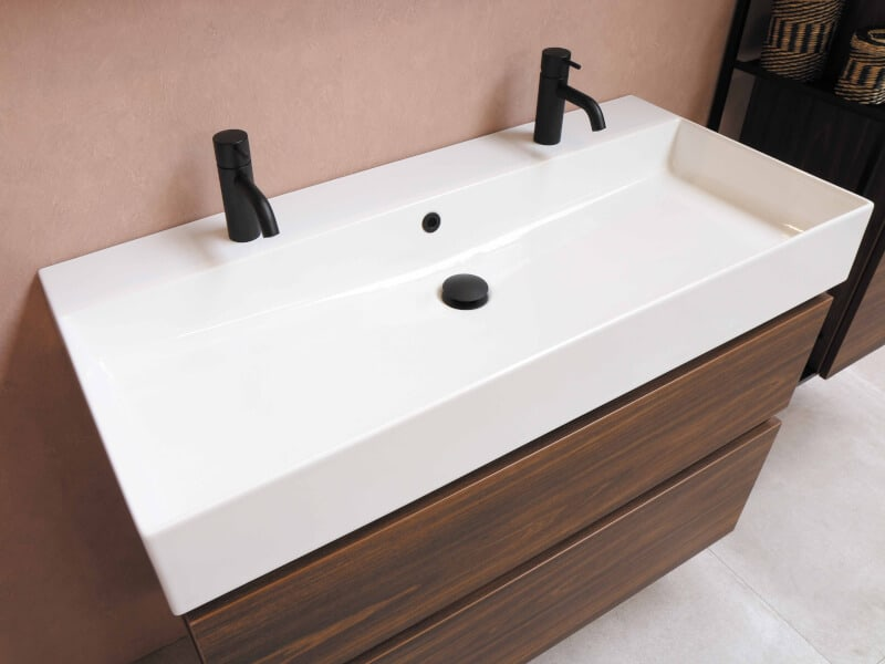 white sink black sink stopper