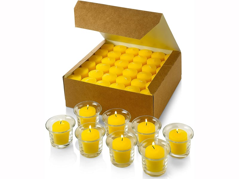 Set of 72 Votive Citronella Candles - Summer Scented Candles - for IndoorOutdoor Use - 10 Hour Burn Time - Made in USA